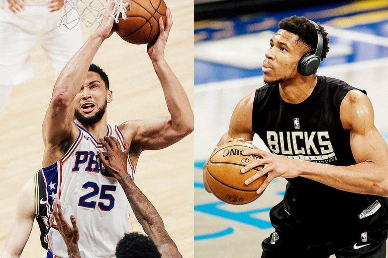 Left, Ben Simmons grimaces while driving. Right, Giannis Antetokounmpo practices free throws with headphones on.