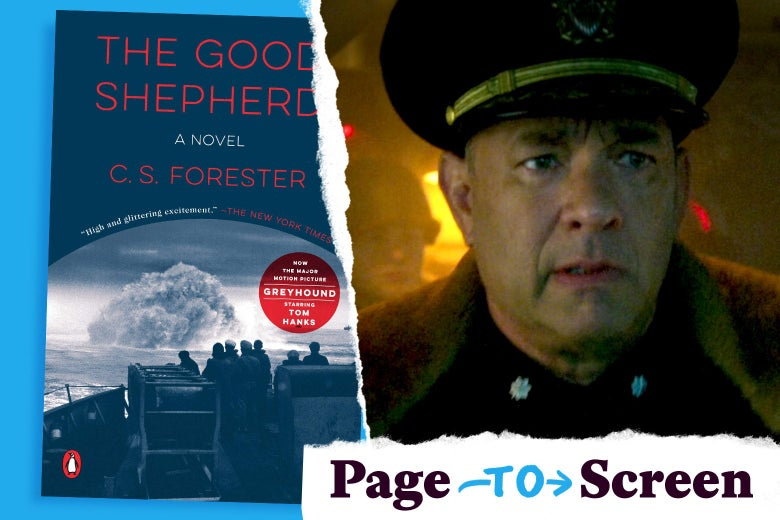 The Good Shepherd's book cover, and Tom Hanks in the movie Greyhound.