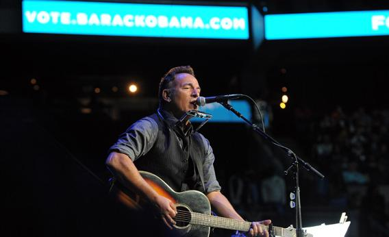 Bruce Springsteen performs during a campaign rally for Pres. Obama in Columbus, Ohio, on Monday.