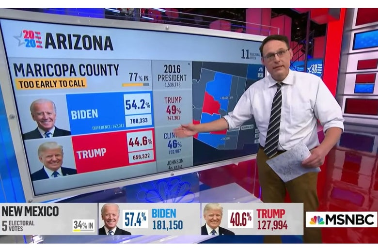 Steve Kornacki points to numbers on a screen during MSNBC's election coverage.