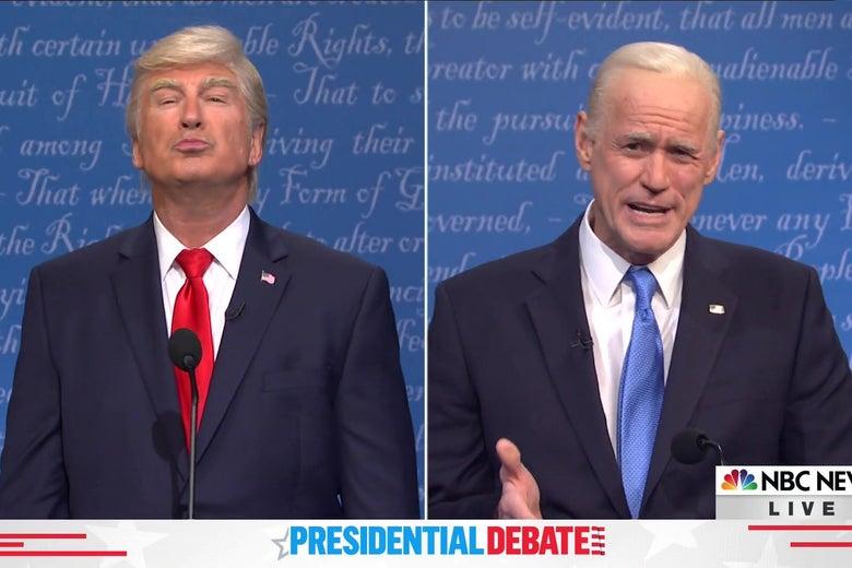 Alec Baldwin as Donald Trump and Jim Carrey as Joe Biden, debating in a splitscreen image from Saturday Night Live.