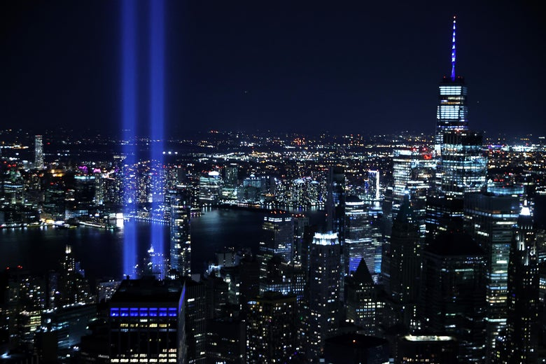 The Tribute In Light shines up from Lower Manhattan on the 20th anniversary of the 9/11 terror attacks on September 11, 2021 in New York City.