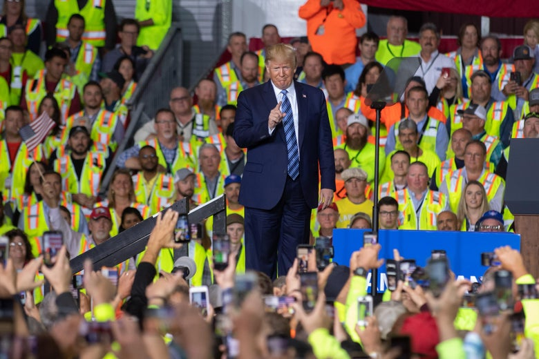 President Donald Trump speaks to 5000 contractors at the Shell Chemicals Petrochemical Complex on August 13, 2019 in Monaca, Pennsylvania.