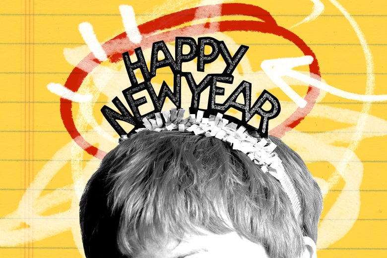 "Photo illustration of a person wearing a ""Happy New Year"" hat."
