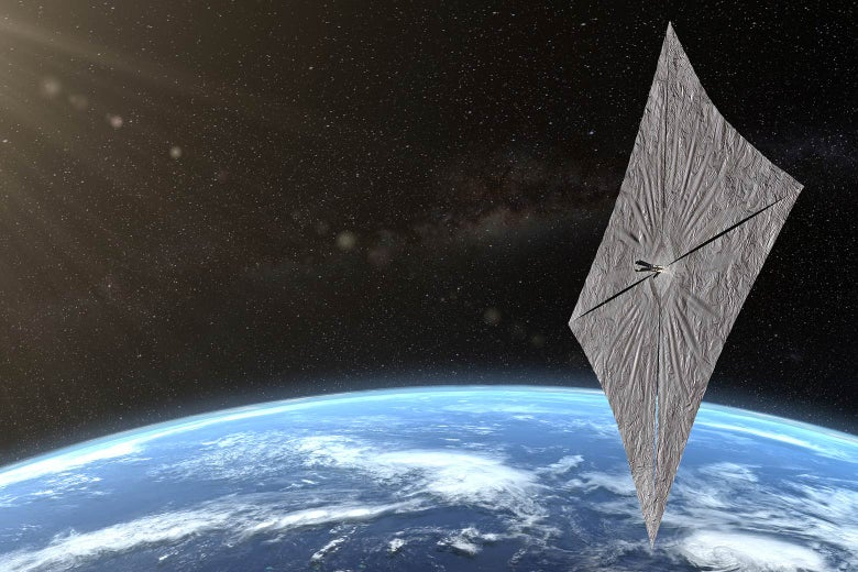 An artist's concept of the LightSail 2 orbiting Earth.