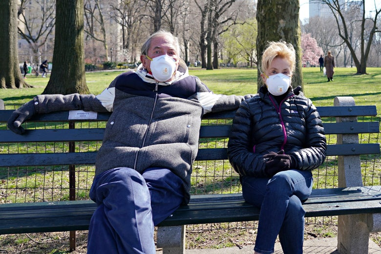 A man and a woman, both wearing masks, sit on a bench in the park