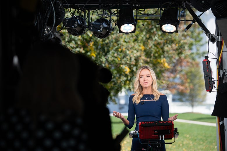 McEnany speaking maskless during a television interview