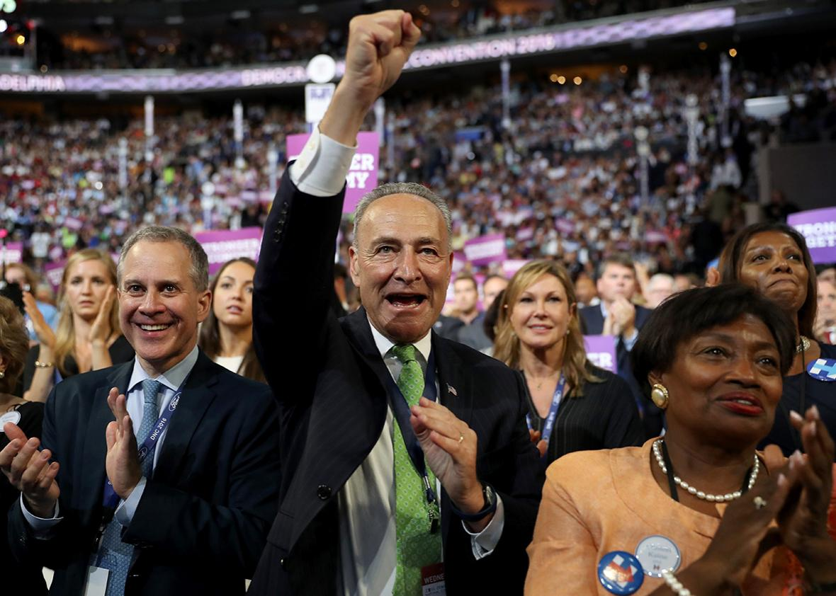 Sen. Chuck Schumer cheers on the third day of the Democratic National Convention at the Wells Fargo Center, July 27, 2016 in Philadelphia, Pennsylvania.