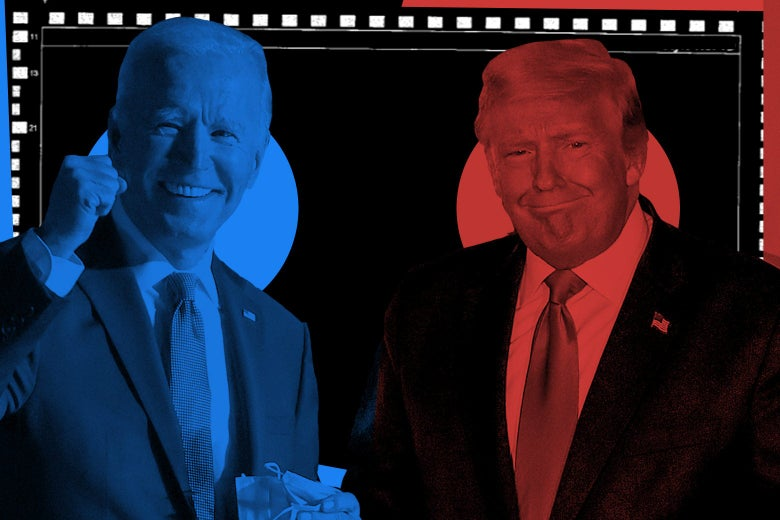 Biden and Trump, in blue and red hues, respectively, seen over a ballot