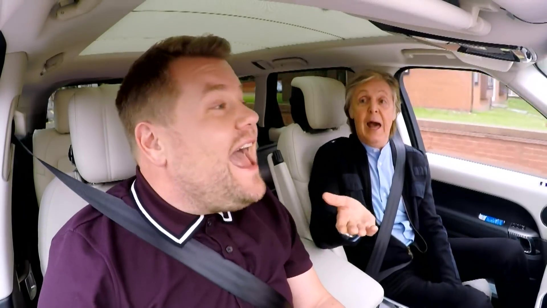 James Corden and Paul McCartney singing in a car.