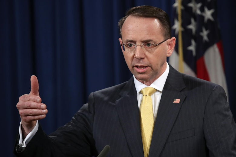 U.S. Deputy Attorney General Rod Rosenstein announces the indictment of 13 Russian nationals and 3 Russian organizations for meddling in the 2016 U.S. presidential election.