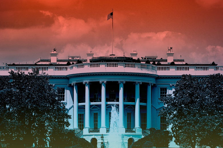 The White House under an ominous cyberpunk red sky