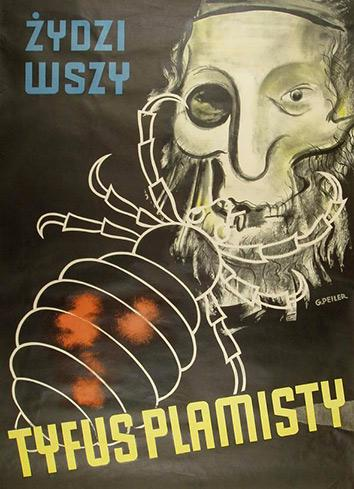 German propaganda antisemitic poster, written in Polish and plastered on Polish streets in 1942, German-occupied Poland.