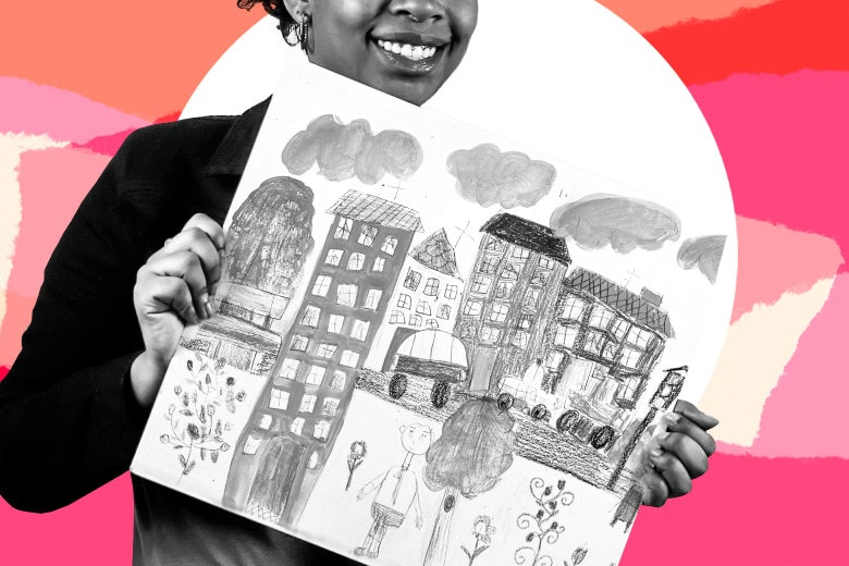 A woman holds up a crayon drawing created by a kid, consisting of buildings, clouds, cars, a road, trees and plants, and people
