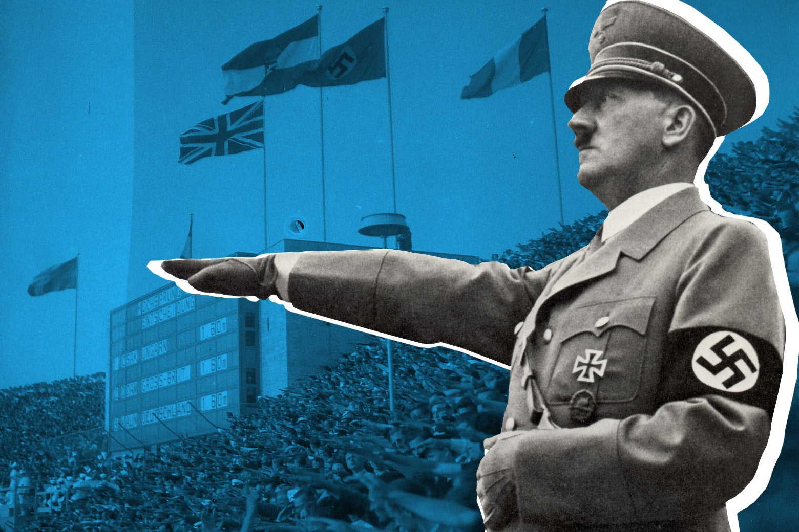 Adolf Hitler salutes the teams during the opening ceremony of the XI Olympiad on Aug. 1, 1936 in Berlin.