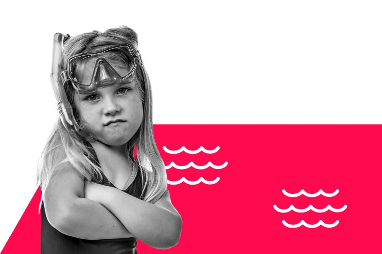 A child crosses her arms in front of an illustration of a pool.