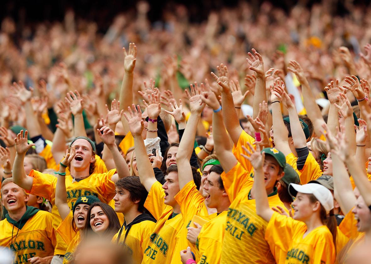 Baylor Bears fans cheer on their team against the TCU Horned Frogs at McLane Stadium on Oct. 11, 2014, in Waco, Texas