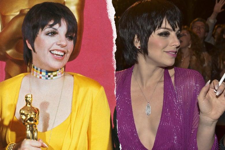 Liza Minnelli at the 1973 Oscars, and Krysta Rodriguez as Minnelli.