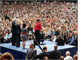 Sarah Palin speaks to a crowd at a rally in Ohio. Click image to expand.