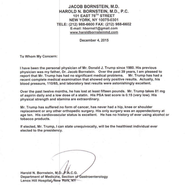 The Dec. 2015 ludicrous medical evaluation of Donald Trump by his absurd physician Dr. Harold Bornstein.