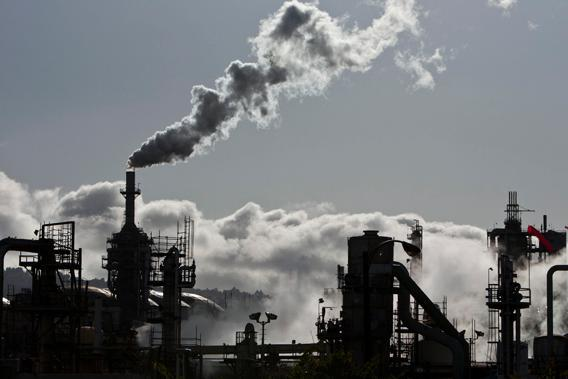 Smoke is released into the sky at the ConocoPhillips oil refinery in San Pedro, California March 24, 2012.