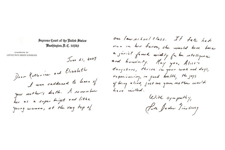 Letter from RBG to Alice's daughters.