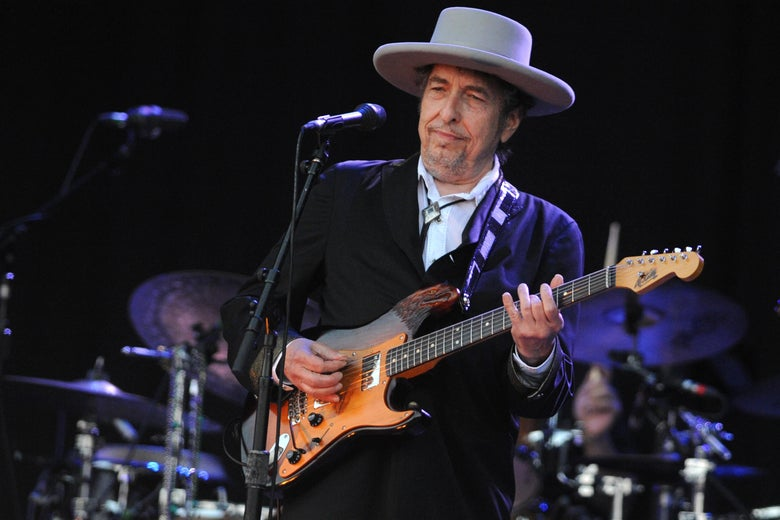 Bob Dylan performs on stage at a music festival in 2012.