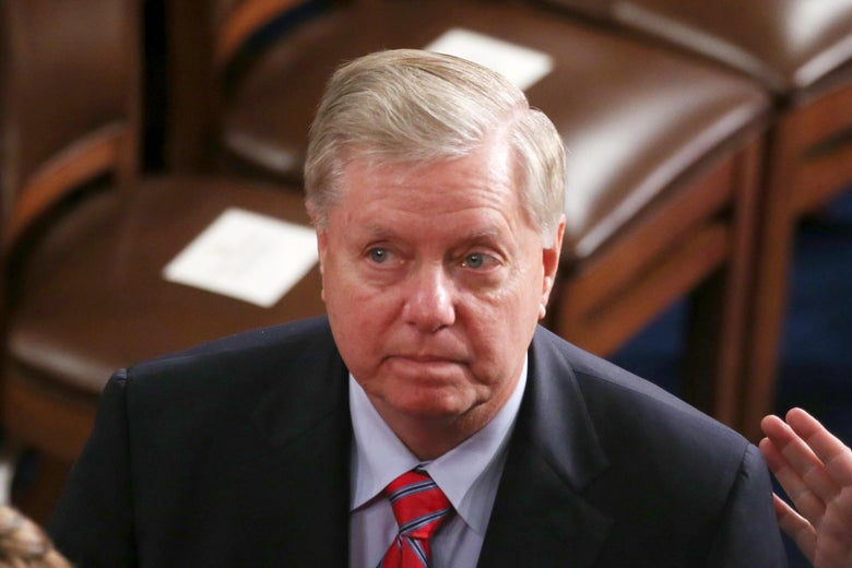 Sen. Lindsey Graham attends the State of the Union address in the chamber of the House of Representatives on February 4, 2020 in Washington, D.C.