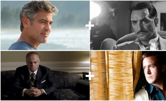 George Clooney in The Descendants, Jean Dujardin in The Artist, Leonardo DiCaprio in J. Edgar, and Ryan Gosling in Drive