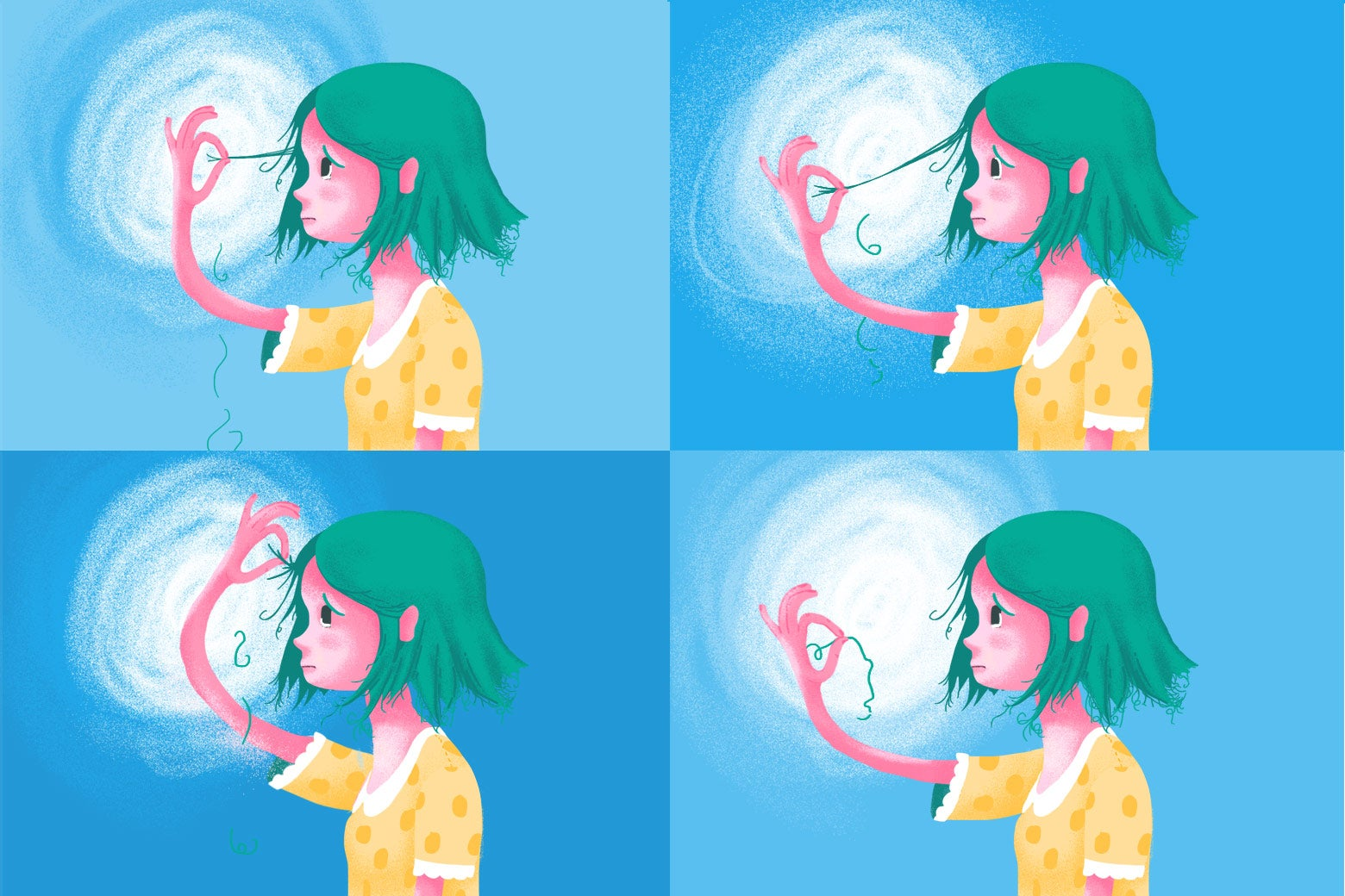 A four-panel comic of a woman pulling a single hair out of her head.