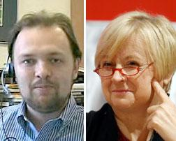 Ross Douthat (L) and Frances Kissling (R).