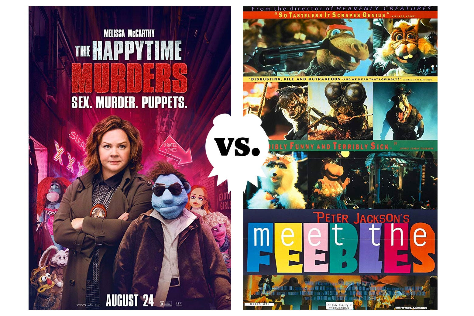 A poster for The Happytime Murders and a poster for Meet the Feebles.