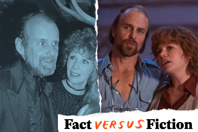 Bob Fosse and Gwen Verdon in real life, and Sam Rockwell and Michelle Williams in Fosse/Verdon.