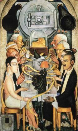 U.S. investors John D. Rockefeller (top left), J.P. Morgan Jr. (top right), and Henry Ford (second right) dine on ticker tape in a Diego Rivera mural of 1927.