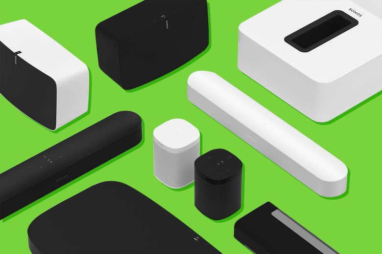 Sonos sound bars and speakers, including the Beam and the One.