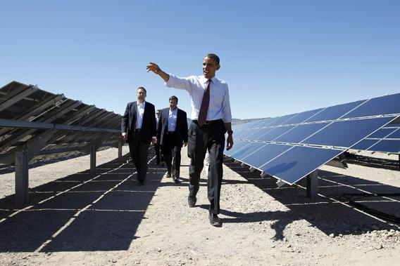 President Obama visits the Copper Mountain Solar Project in Boulder City, Nevada, March 21, 2012.