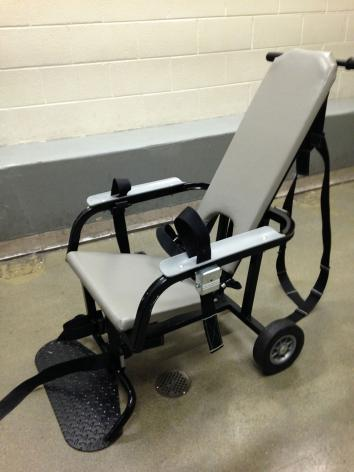 A restraint chair in the Fairfax County jail.