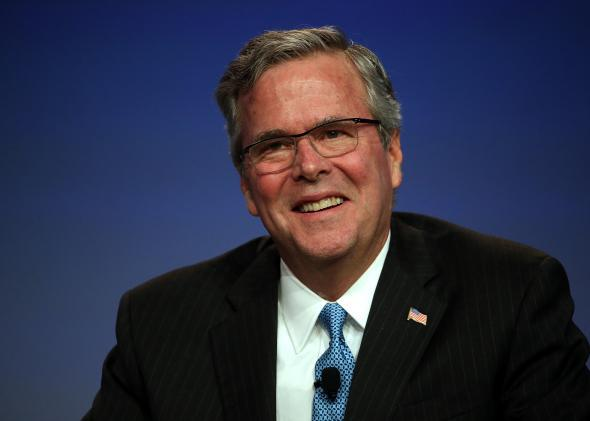 Governor Jeb Bush addresses a packed house during CPAC2015.