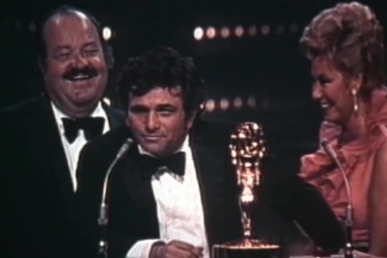 Peter Falk winning an Emmy.