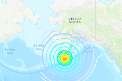 A map with rings around the epicenter of the quake indicating its strength at different distances.