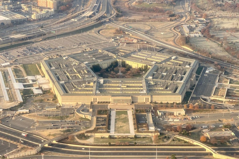 The Pentagon, the headquarters of the Department of Defense, located in Arlington County, across the Potomac River from Washington, DC is seen from the air on December 8, 2019.