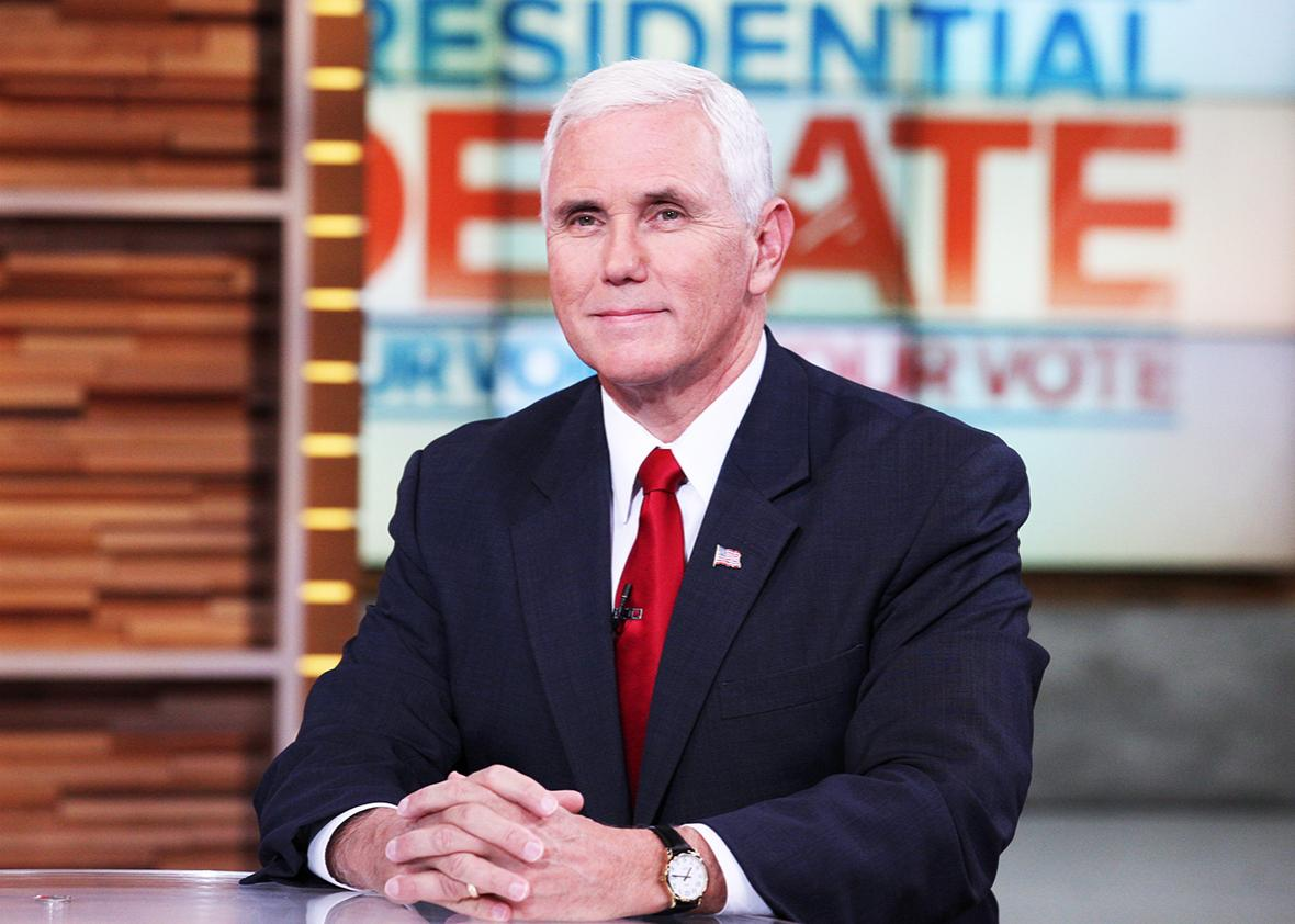 "Republican vice presidential candidate Mike Pence discusses the first presidential debate on ""Good Morning America,"" 9/27/16, airing on the ABC Television Network."