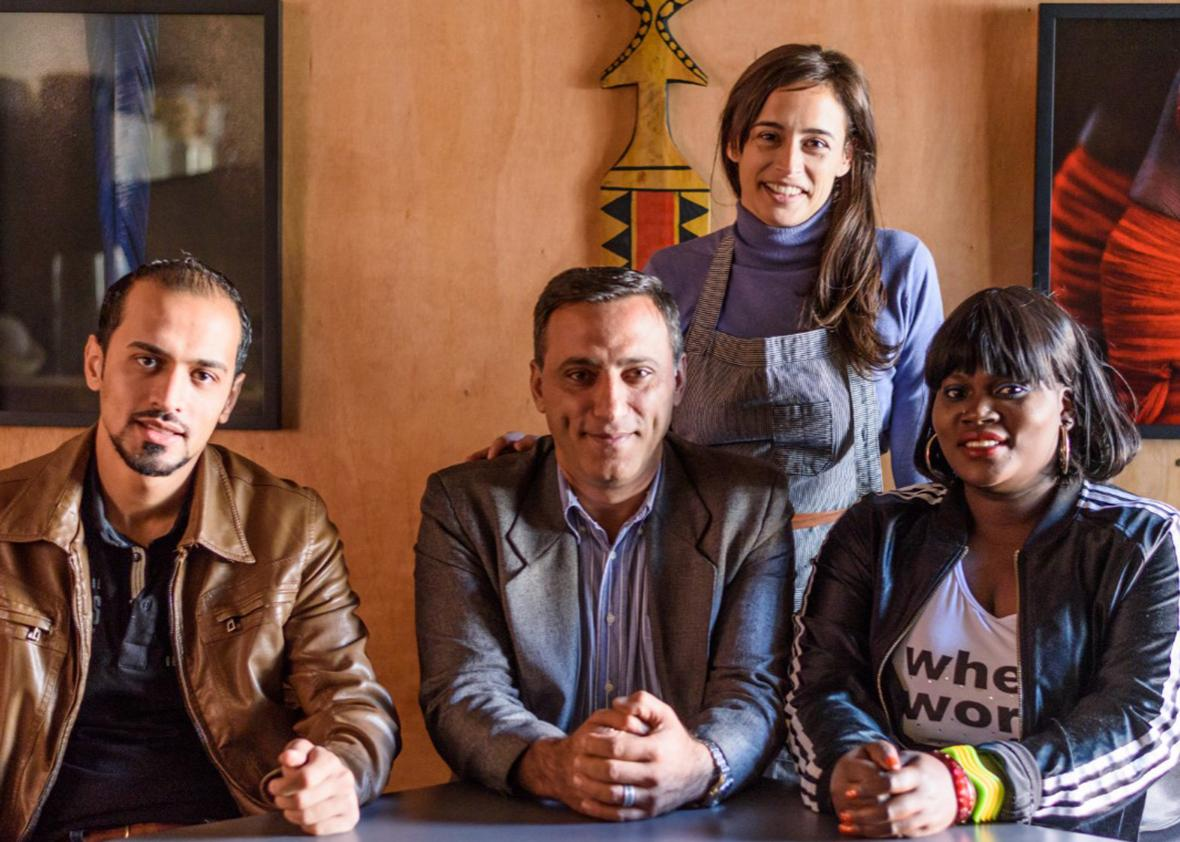 Head chef of Clandestino, Bel Coelho (second from right) collaborates with Adus, a nonprofit that helps refugees integrate into Brazilian society.