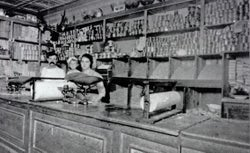 Giorgio Cataudella in his Harlem Macaroni Co. retail shop with his daughters Vera, center, and Antoinette.