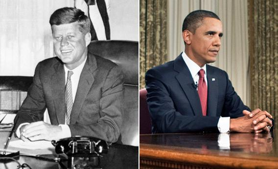JFK and Barack Obama sitting in the Oval Office of the White House