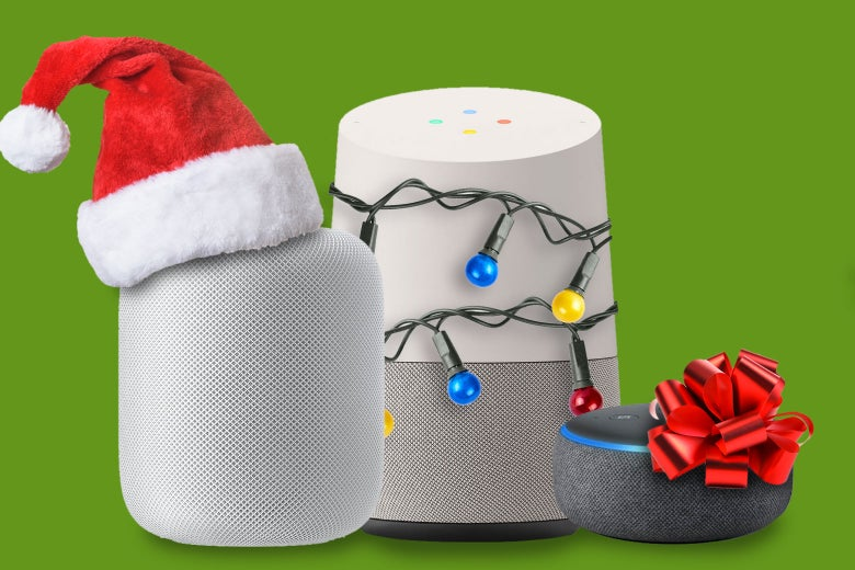 Smart speakers all decked out for Christmas.