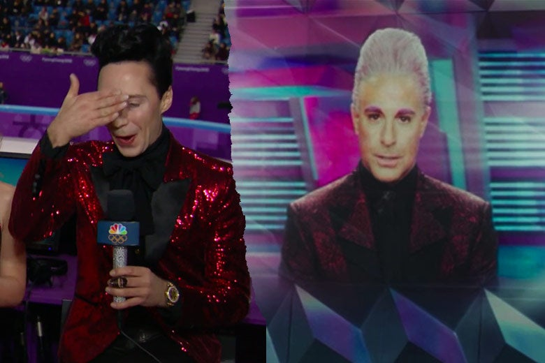 Left: Johnny Weir covers his eyes and wears a red, sequined blazer. Right: Stanley Tucci as Caesar Flickerman wears a similar blazer.