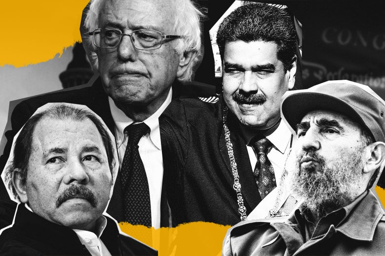 A collage of Bernie Sanders surrounded by Daniel Ortega, Nicolás Maduro, and Fidel Castro.