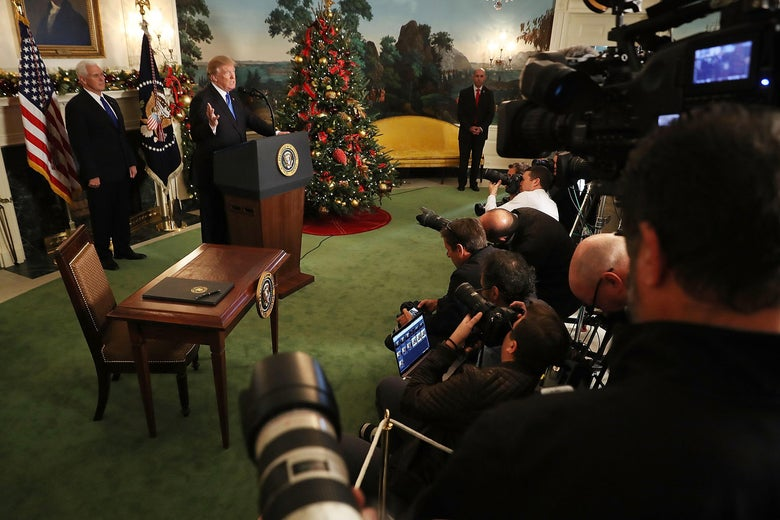 WASHINGTON, DC - DECEMBER 06:  U.S. President Donald Trump announces that the U.S. government will formally recognize Jerusalem as the capital of Israel with Vice President Mike Pence (L) in the Diplomatic Reception Room at the White House December 6, 2017 in Washington, DC. In keeping with a campaign promise, Trump said the United States will move its embassy from Tel Aviv to Jerusalem sometime in the next few years. No other country has its embassy in Jerusalem.  (Photo by Chip Somodevilla/Getty Images)