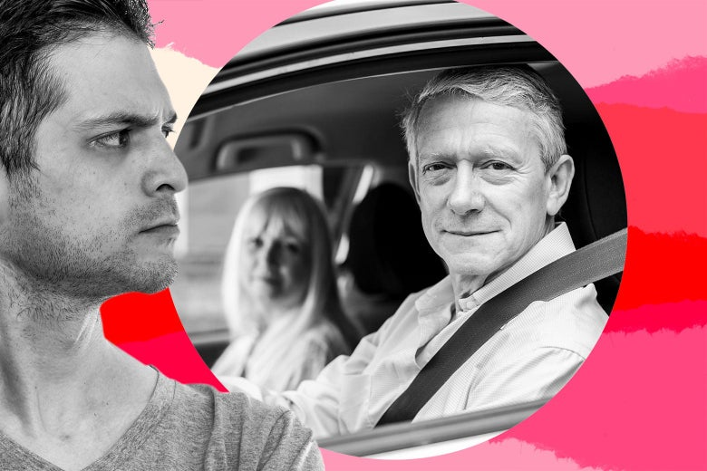 A man glares at two older parents looking unconcerned in the front seats of a car.